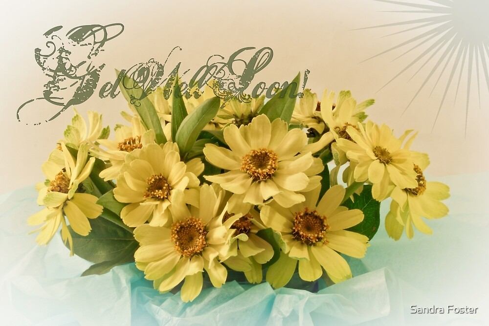 Get Well Soon Card - Yellow Brown Eyed Susan Bouquet by Sandra Foster