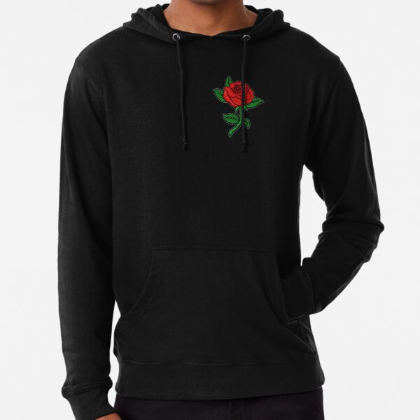 Rose Patch Black Lightweight Hoodie