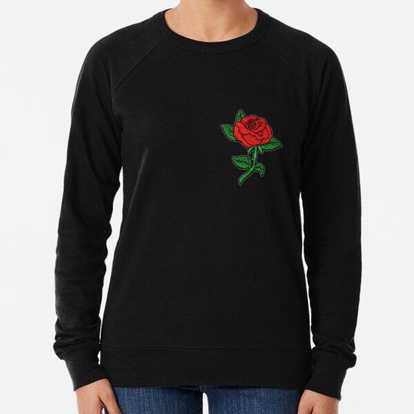 Rose Patch Schwarz Leichter Pullover