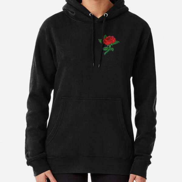 Rose Patch Black Pullover Hoodie
