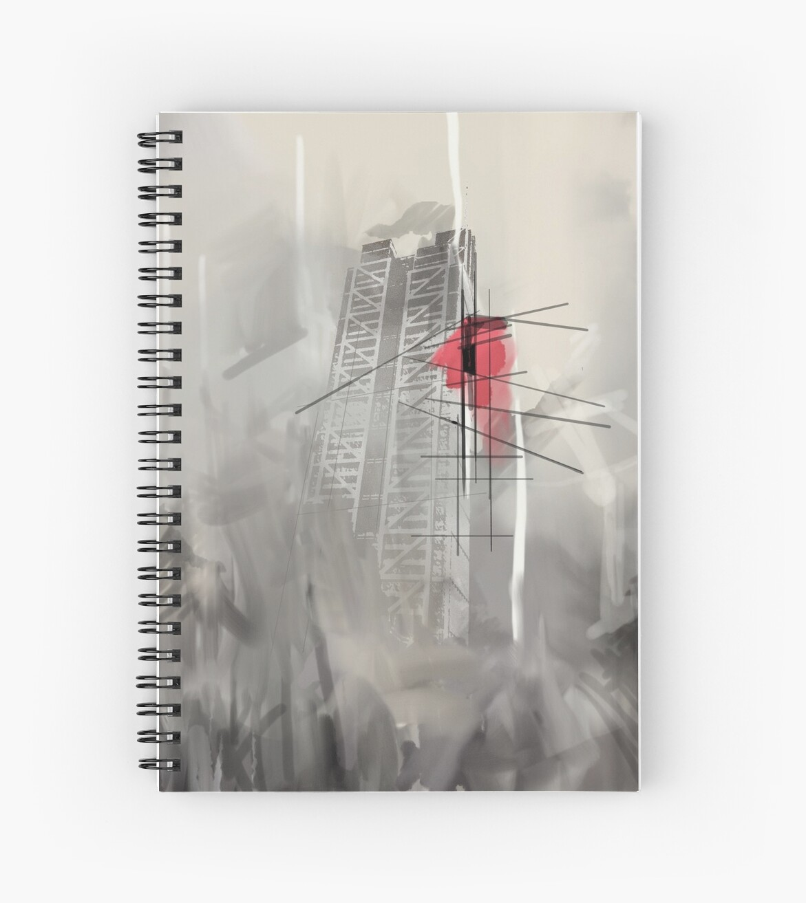 London skyline grey abstract painting spiral notebook by sukhpal grewal