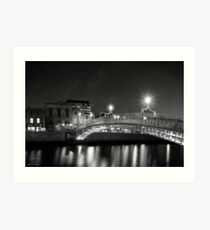 At Night In Beautiful Dublin Ireland Art Print