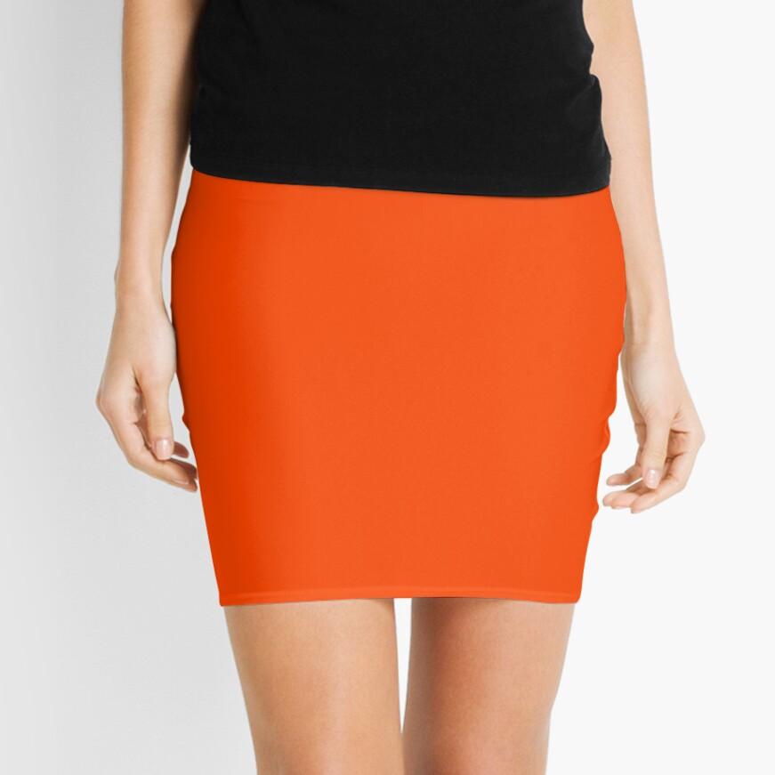PLAIN ORANGE RED   SOLID COLOR ORANGE RED Mini Skirt