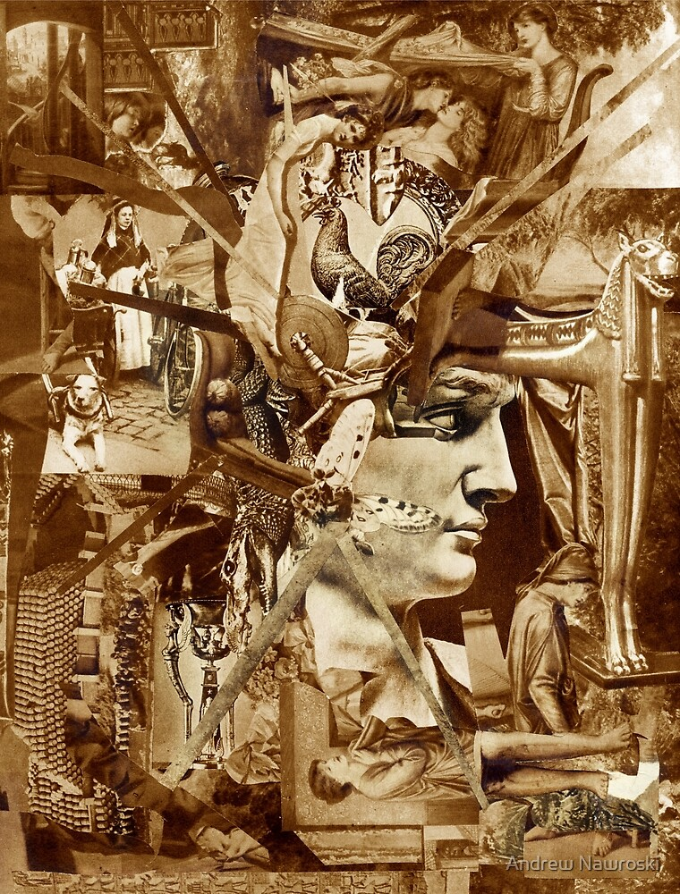 Sepia Collage Study 29. by Andrew Nawroski