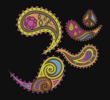 Retro Paisley Om Yoga / Yogini T-shirt