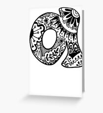 """Hipster Letter """"A"""" Zentangle Greeting Card"""