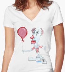 Circus Clown w. Red Ballon Women's Fitted V-Neck T-Shirt