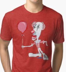 Circus Clown w. Red Ballon Tri-blend T-Shirt
