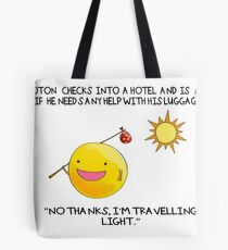 A Photon Travelling  Science Joke Tote Bag