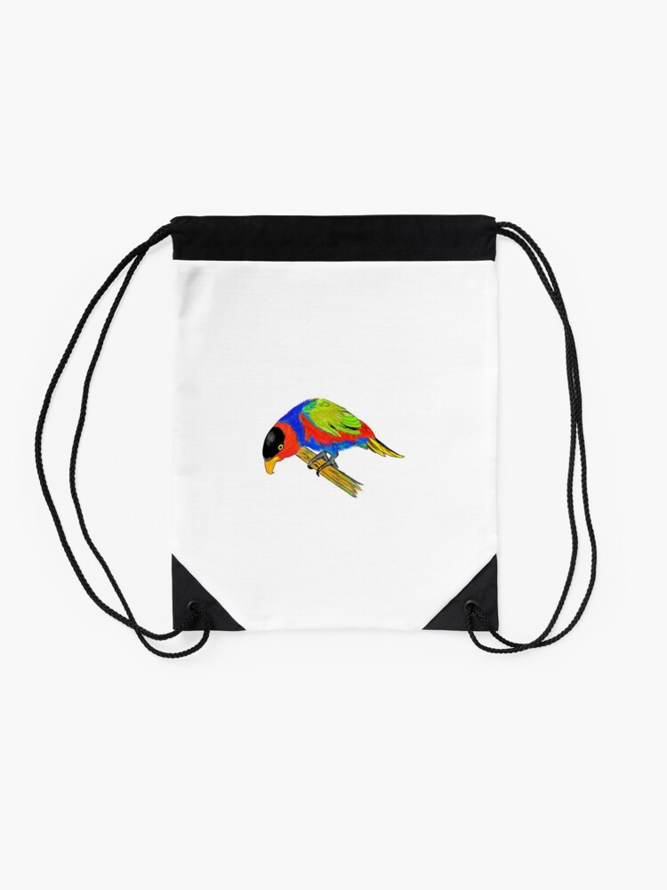 Alternate view of Black-capped Lory Drawstring Bag