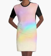 Iridescent Aesthetic Color Graphic T-Shirt Dress