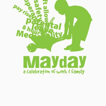 MayDay 2008: a celebration of work and family - Light Green print by unionswa
