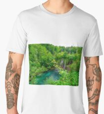 Plitvice Lakes, Croatia. Natural park with waterfalls and turquoise water Men's Premium T-Shirt