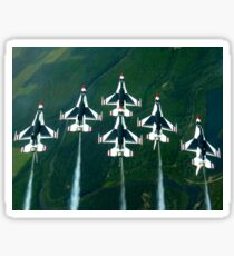 The Thunderbird aerial demonstration team performs a loop while in the Delta formation. Sticker