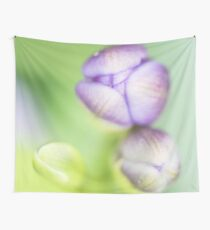 Purple green flower bud Wall Tapestry