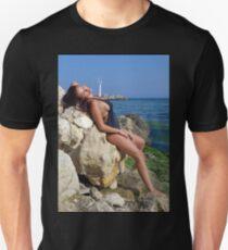 Sexy girl posing on the rocks T-Shirt