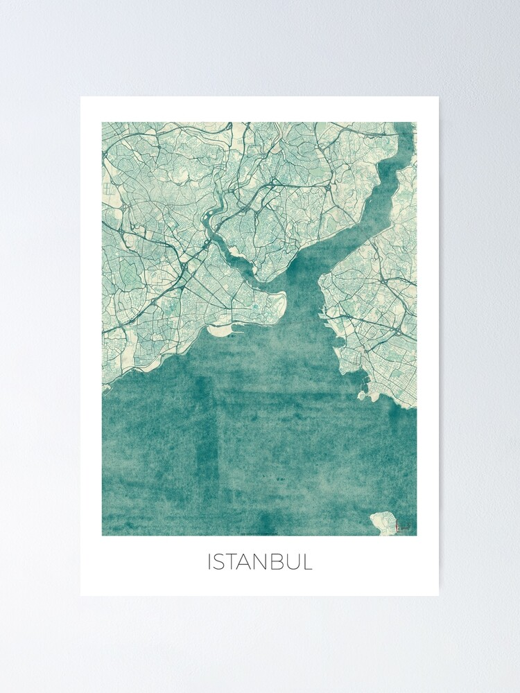 Alternate view of Istanbul Map Blue Vintage Poster