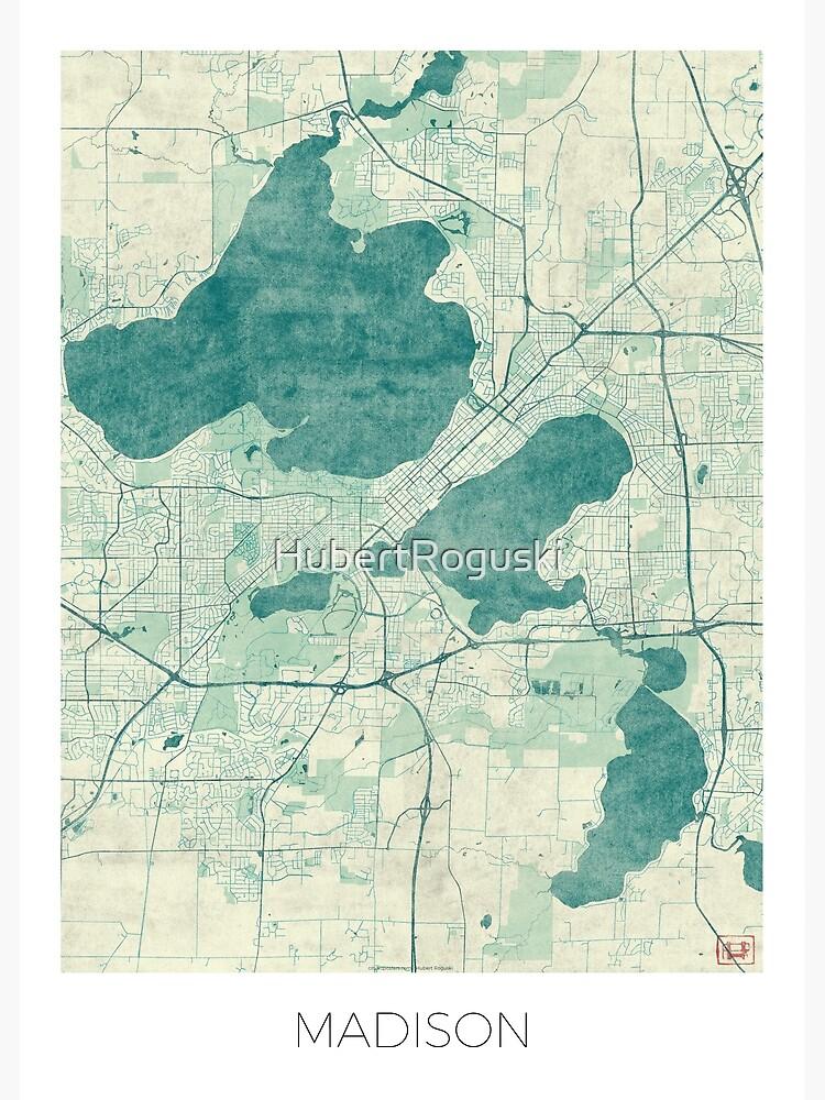 Madison Map Blue Vintage by HubertRoguski