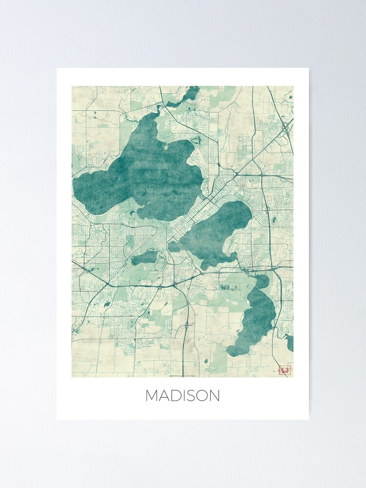 Alternate view of Madison Map Blue Vintage Poster