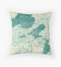 Madison Map Blue Vintage Throw Pillow
