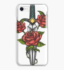 Dagger Knife and Rose Flowers Drawn in Tattoo Style iPhone Case/Skin