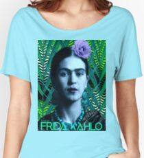 Frida Kahlo - At the Beach In Front of the Green Palmas (V1) Women's Relaxed Fit T-Shirt