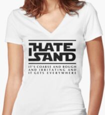 For sand haters (black) Women's Fitted V-Neck T-Shirt