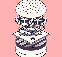 Burger Isometric Lineart Deconstructed - Salmon by Ivan Krpan