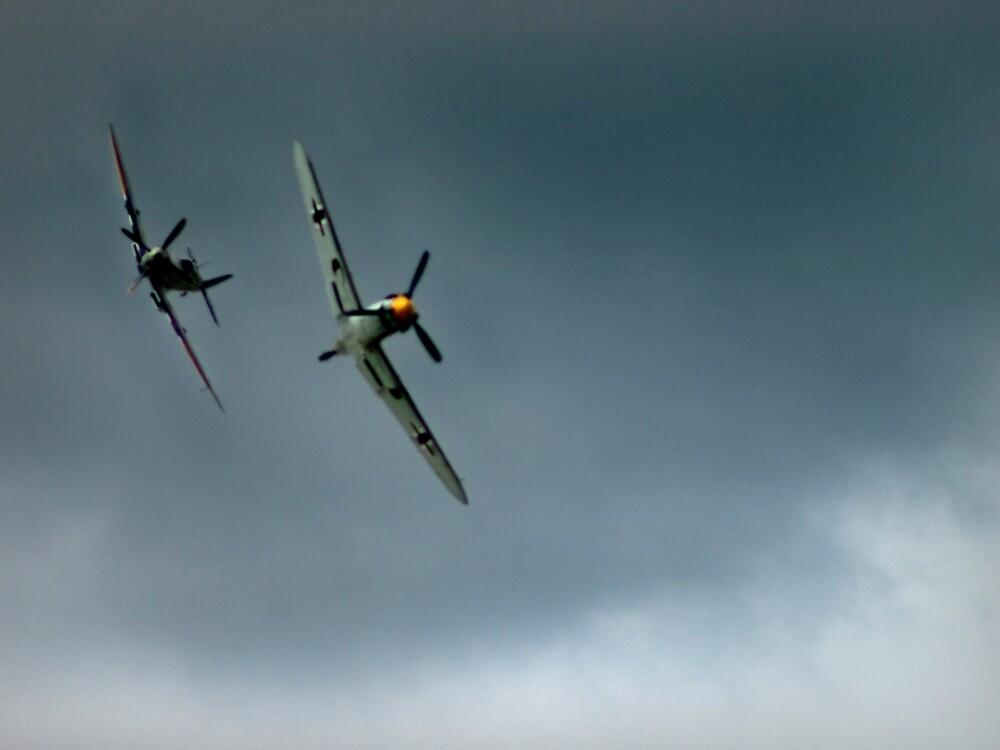 Spitfire Attack on Messerschmitt  by Paul Tremble