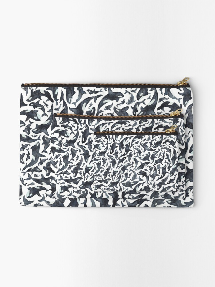 Alternate view of Orcas or Killer Whales Zipper Pouch