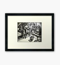 1930s Family at Home with a Radio Framed Print