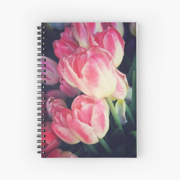 Tulip Lovers - Dramatic Pink Tulips Art Photography Spiral Notebook