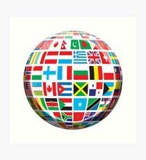 World, Flags of the Globe, Flags, Globe, Peace, Global Art Print