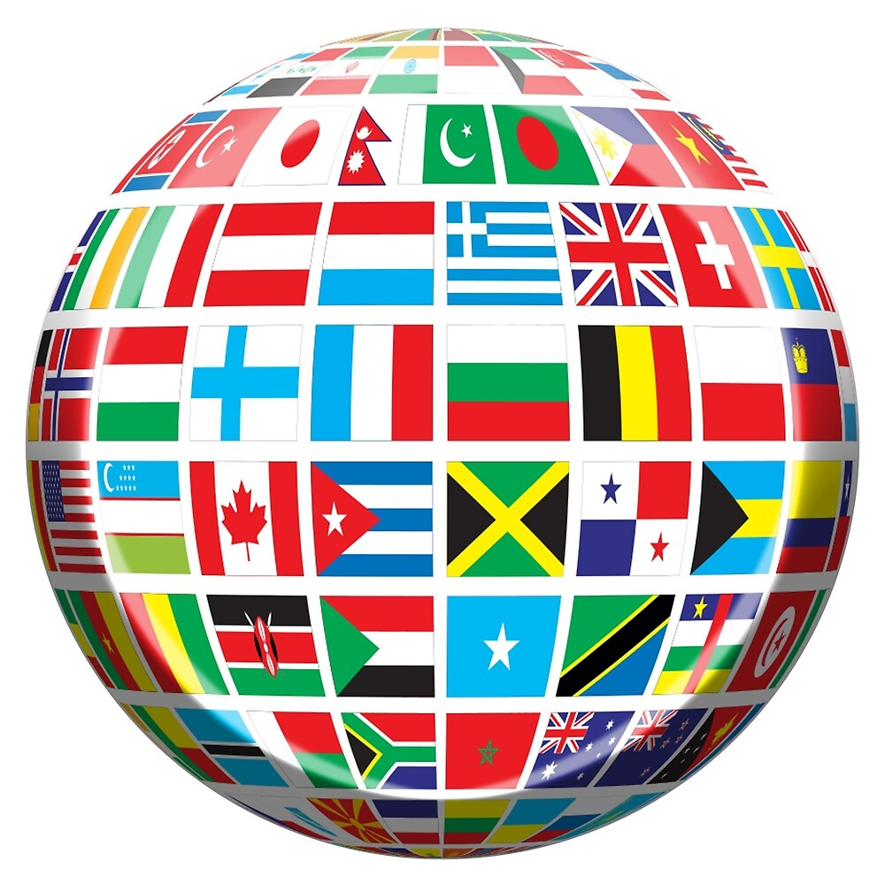 World, Flags of the Globe, Flags, Globe, Peace, Global by TOM HILL - Designer