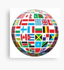 World, Flags of the Globe, Flags, Globe, Peace, Global Canvas Print