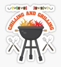 Chilling And Grilling BBQ Design Sticker