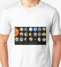 Space Infographic - Largest Bodies in the Solar System Unisex T-Shirt