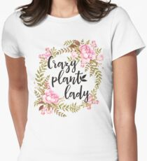 Crazy Plant Lady - Floral wreath Botanical Women's Fitted T-Shirt
