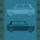 Vintage Cars Teal by emilypigou