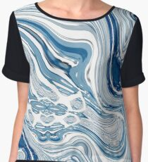 chic marble nautical beach blue watercolor ocean waves Chiffon Top