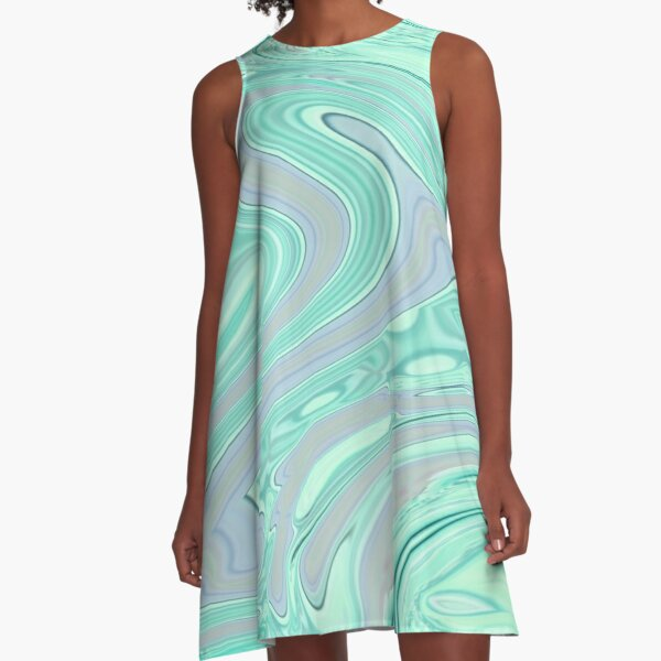 chic spring summer seafoam green mint swirls A-Line Dress