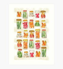 Lovely pickles in vintage jars Art Print