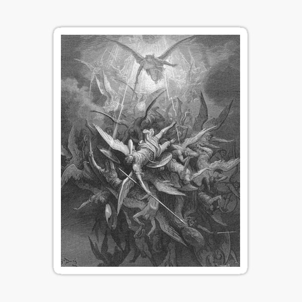 ANGELS & DEMONS. Gustave Dore, Him The Almighty Power Hurled Headlong Flaming From The Eternal Sky. Sticker