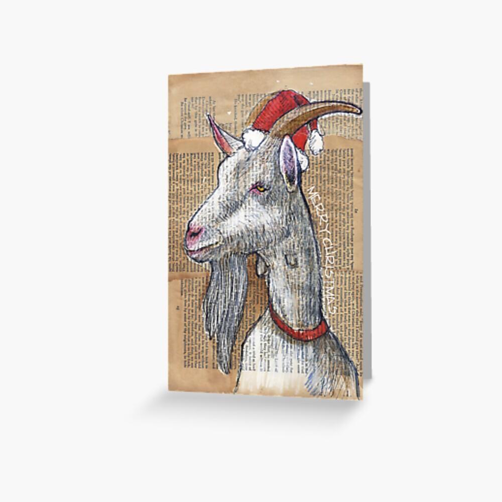 Weihnachtsziege Grußkarte