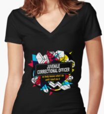 JUVENILE CORRECTIONAL OFFICER - NO BODY KNOWS Women's Fitted V-Neck T-Shirt