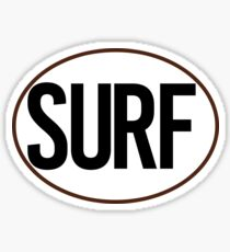 SURF BLACK AND WHITE OVAL SURFING SURFER BEACH OCEAN Sticker