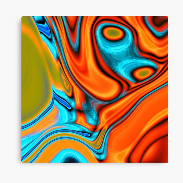 vivid modern Southwest hipster turquoise orange swirls Canvas Print