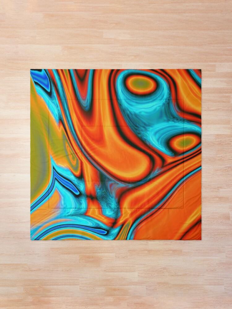 Alternate view of vivid modern Southwest hipster turquoise orange swirls Comforter
