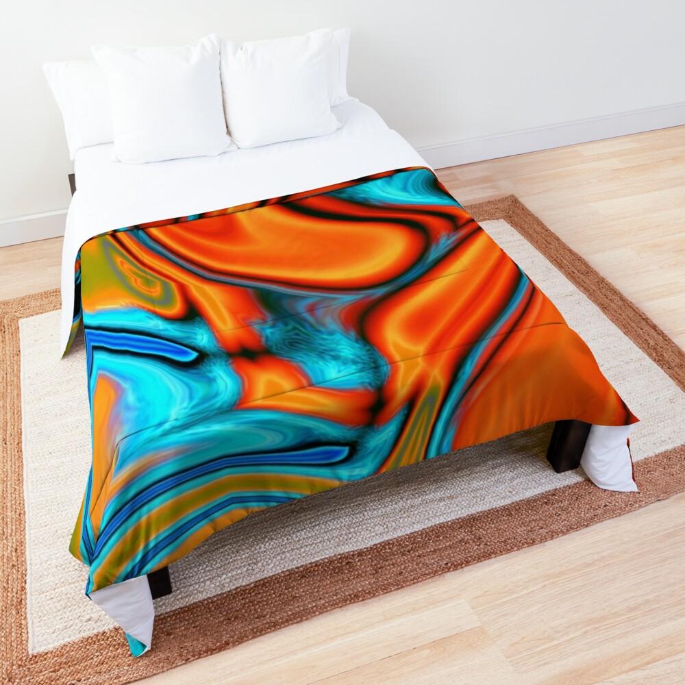 vivid modern Southwest hipster turquoise orange swirls Comforter