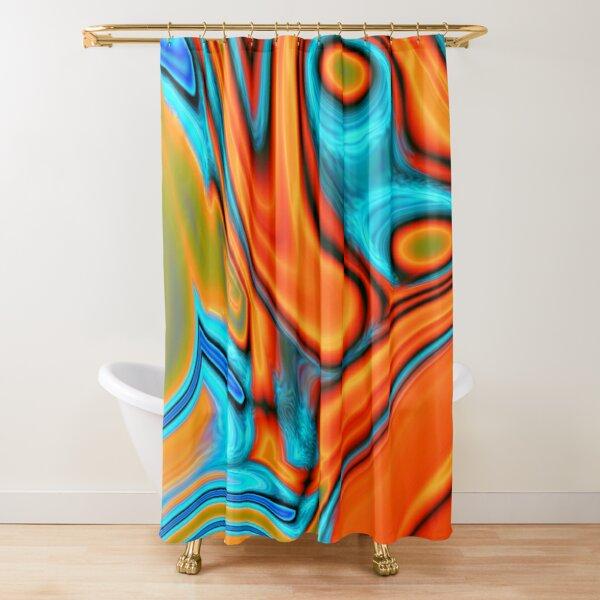 vivid modern Southwest hipster turquoise orange swirls Shower Curtain